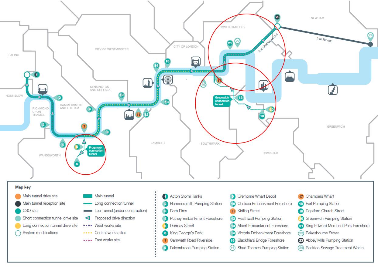 Thames Tideway Route Map